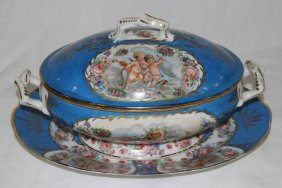French Sevres Hand Painted Porcelain Tureen &