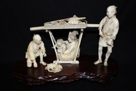 Antique Japanese Carved Ivory Group