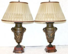 Pair Of Antique French Bronze Figural Lamps