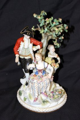 Beautiful Meissen Hand Painted Porcelain Group