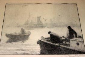 "Gordon Grant ""fog Over Gloucester"" Lithograph"