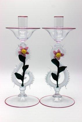 Pair Of Italian Murano Art Glass Candleholders