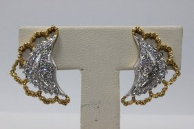 Mario Buccellati 18kt Two Tone Diamond Earrings