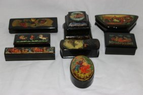 8 Pc. Russian Hand Painted Black Lacquered Boxes