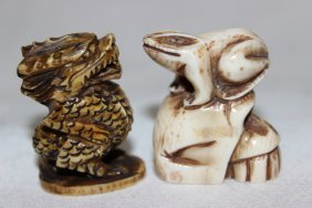 2 Pc. Chinese Carved Ivory Netsuke's