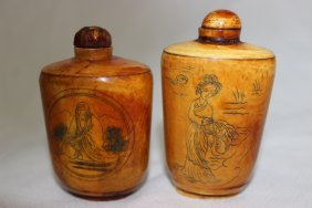 2 Pc. Chinese Carved Snuff Bottles