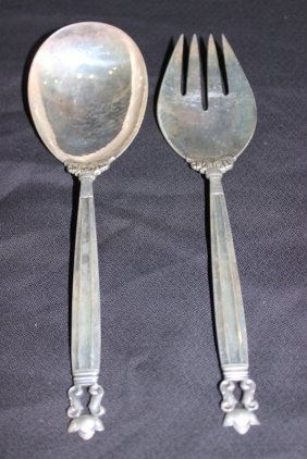 "2 Pc. Georg Jensen ""acorn"" Sterling Salad Set"