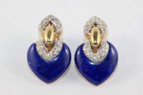Fine Contemporary Yellow Gold Diamond Lapis Ear
