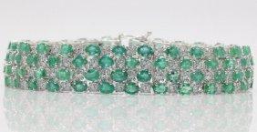 14kt Wg 17.12ct. Emerald & 1.92ct. Diamond Bracelet