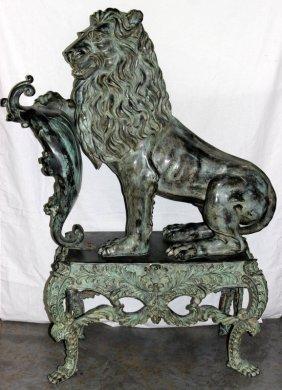 Monumental Palace Size Lion Bronze
