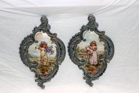 Pair Of Hand Painted Porcelain Wall Plaques