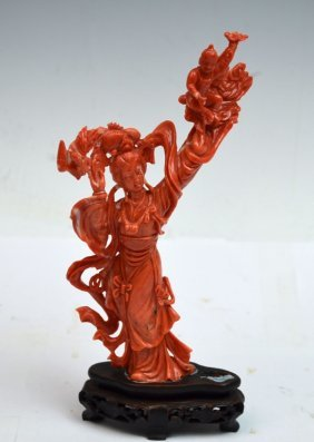 Chinese Coral Carved Figure