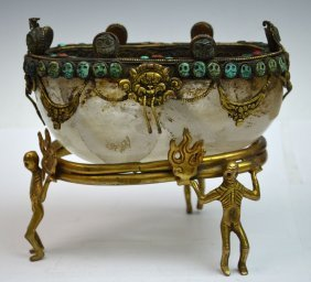 Chinese Gilt Bronze & Crystal Wash Bowl