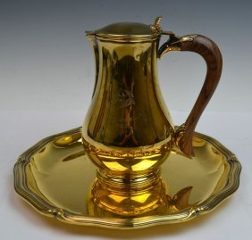 Gilt-silver French Coffee Pot On Tray Puiforcat