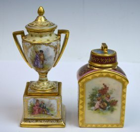 Royal Vienna Tea Caddy And Dresden Vase