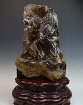 Chinese Rock Crystal Carved Guandi
