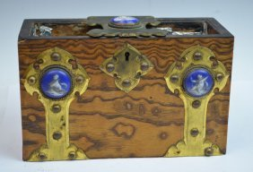 English Tea Caddy Holder With Porcelain Decoration