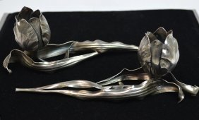 Pair Of Buccellati Sterling Silver Candle Sticks