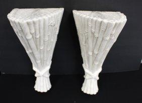 Pair Of Glazed Ceramic Wall Shelves