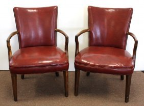 Pair Of Mahogany And Leather Upholstered Arm Chairs