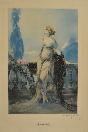 Louis Icart; Color Drypoint Etching Signed