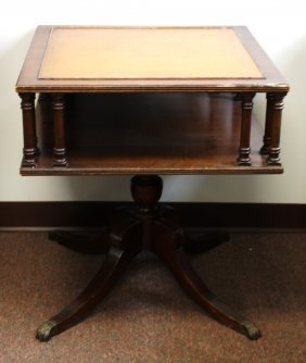 Mahogany Leather Top Occassional Table