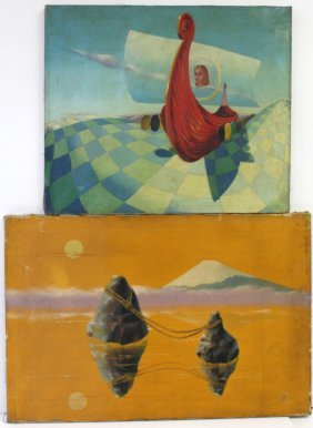 Harvey; Two(2) Surrealist Oil Paintings Signed
