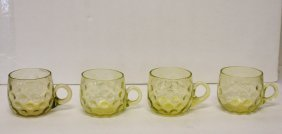 Four(4) Victorian Hobbs Vaseline Glass Punch Cups