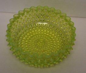 Hobbs Vaseline Glass Hobnail Bowl