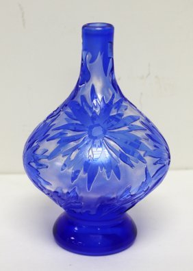 French Wheel Cut Cameo Glass Vase