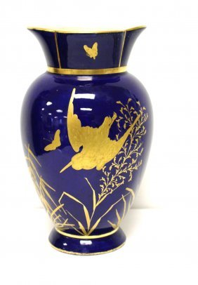 Rosethal Style Gilt Decorated Cobalt Porcelain Vase