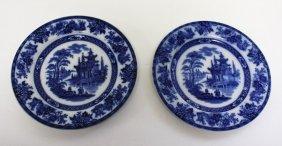 Pair Of Doulton Burslem Flow Blue Porcelain Plates