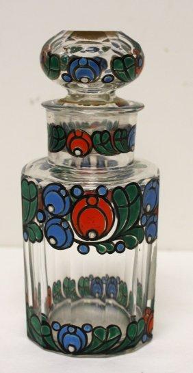 Art Deco Enameled Glass Dresser Bottle