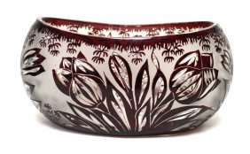 Bohemian Ruby Cut Glass Bowl