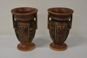 Pair Of Roseville Pottery Vases