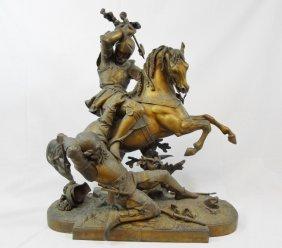 Antique Martial Theme Metal Sculpture