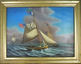 Painting, Oil On Board, Ships At Sea, Jerome Howes