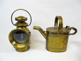 English Car Lantern & R. Perry Son Watering Can
