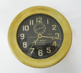 "Us Navy Deck Clock No2, Chelsea Clock Co. 4"" Face"