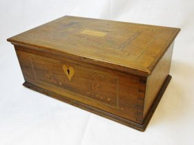 19th C. Sailor Made Inlaid Wooden Chest