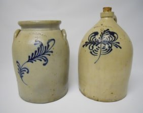 Pair Of 19th C. Stoneware Vessels, Edmands & Co