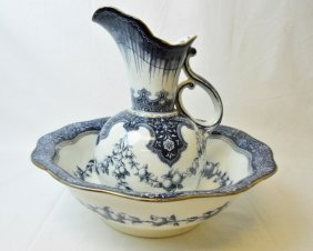 "Porcelain Pitcher And Basin, Doulton ""figaro"""
