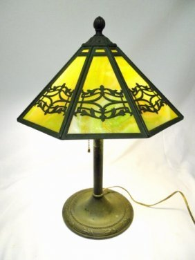 Green Slag Glass Lamp, Bradley & Hubbard