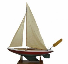 Large Working Wooden Pond Boat