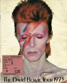 David Bowie, 1973 Alladin Sane Ticket And Program