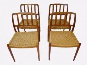 Danish Teak Dining Chairs, Neils O. Moller
