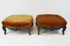 Matching Pair 19th C. English Walnut Footstools