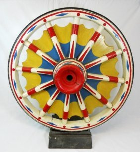 Hand Painted Antique Circus Wagon Wheel