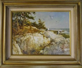 "Painting, Oil On Board, ""gulls"", Marshall W. Joyce"