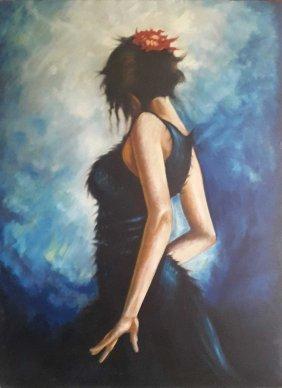 """Pakistan Artist Shakeel """"girl"""" Oil Painting"""